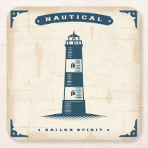 Vintage Lighthouse Poster 1 Square Paper Coaster