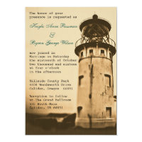 Vintage Lighthouse Wedding Invitation