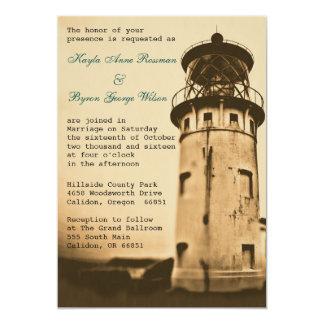 Vintage Lighthouse Wedding Invitation