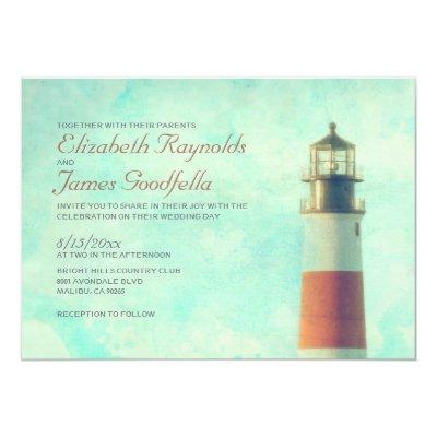 Old Vintage Lighthouse Nautical Wedding Invites Zazzle Com