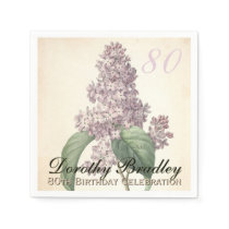 Vintage Lilac 80th Birthday Party Paper Napkins