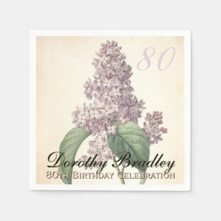 Vintage Lilac 80th Birthday Party Paper Napkins Standard Cocktail Napkin