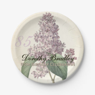 Vintage Lilac 85th Birthday Party Paper Plates