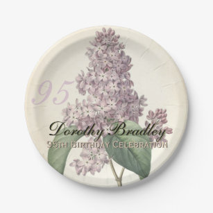 Vintage Lilac 95th Birthday Party Paper Plates