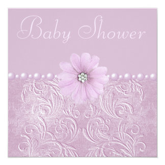 Vintage Lilac Baby Shower Bling Flowers & Pearls Card