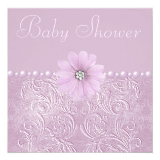 Vintage Lilac Baby Shower Bling Flowers Pearls Personalized Invites