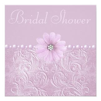 Vintage Lilac Bridal Shower Bling Flowers & Pearls Card