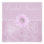 Vintage Lilac Bridal Shower Bling Flowers & Pearls 5.25x5.25 Square Paper Invitation Card