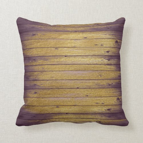 Vintage Lilac Floral Gold Wood Glitter Pillow