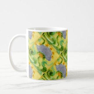 Vintage Lilac Flower Tile Design Art Nouveau Mugs