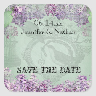 Vintage Lilac Locket Save the Date Stickers
