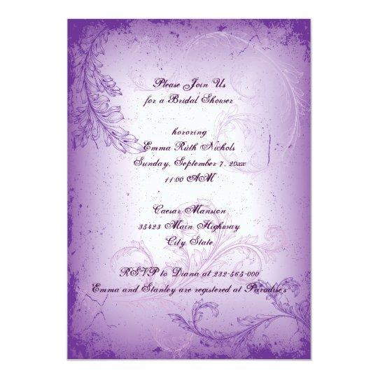 Vintage lilac purple scroll leaf bridal shower card