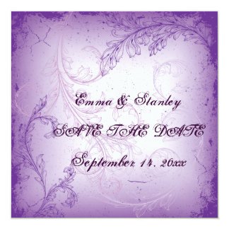 Vintage lilac purple scroll leaf Save the Date Card