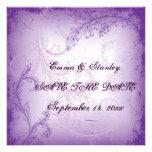 Vintage lilac purple scroll leaf Save the Date Custom Invites