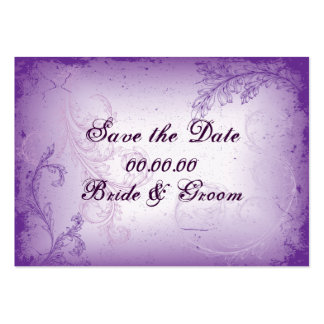 Vintage lilac purple scroll leaf Save the Date Large Business Cards (Pack Of 100)