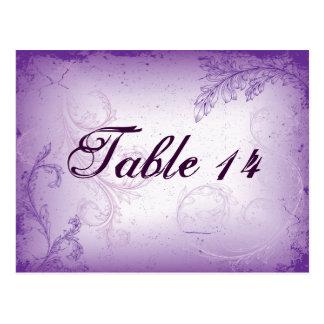 Vintage lilac purple scroll leaf table number post card