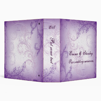 Vintage lilac purple scroll leaf wedding binder