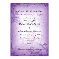 Vintage lilac purple scroll leaf wedding invite 5