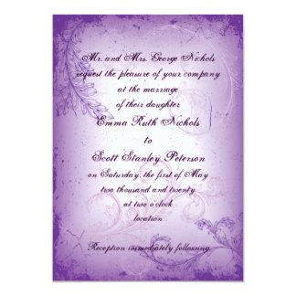 Vintage lilac purple scroll leaf wedding invite custom invite