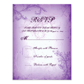 Vintage lilac purple scroll leaf wedding RSVP card