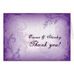 Vintage lilac purple scroll leaf wedding Thank You Cards