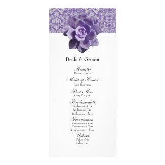 Vintage Lilac Succulent Wedding Program Rack Card Design