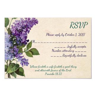Vintage Lilacs Christian Wedding RSVP Card
