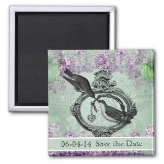 Vintage Lilacs Locket Save the Date Magnet