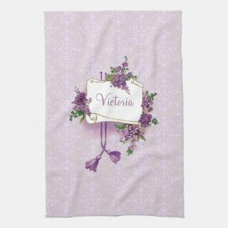 Vintage Lilacs Personalized Kitchen Towel