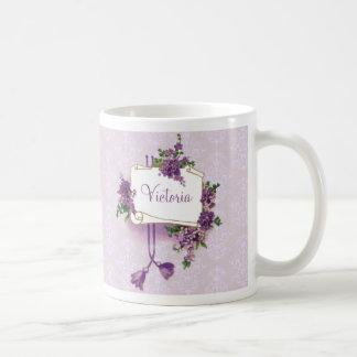 Vintage Lilacs Personalized Classic White Coffee Mug
