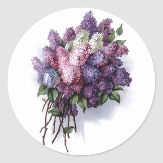 Vintage Lilacs Round Stickers
