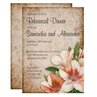 Vintage Lilies Wedding Rehearsal Dinner Invitation