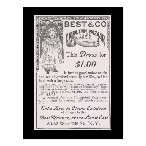 Vintage Liliputian Bazaar Children's Clothes Ad Postcard