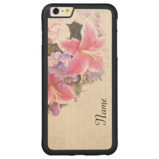 Vintage Lillies Carved Maple iPhone 6 Plus Bumper Case