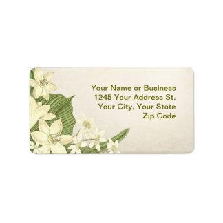 vintage Lilly white flowers label Address Label