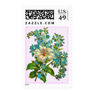 Vintage Lily and Forget-Me-Not Flowers Postage