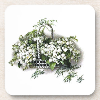 Vintage Lily of the Valley Bouquet Cork Coaster
