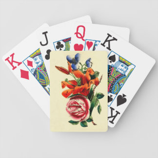 Vintage Lily Rose Floral Bicycle Playing Cards