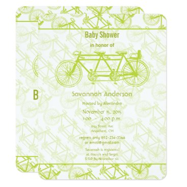 Toddler & Baby themed Vintage Lime Bicycle Baby Shower Invitation