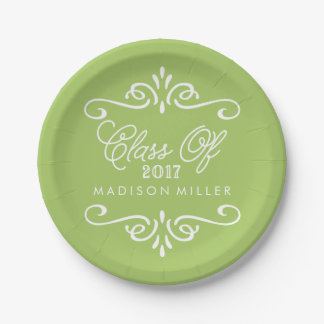 Vintage Lime Green | Graduation Party Paper Plate