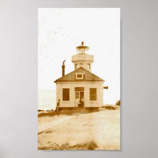Vintage Lime Kiln Lighthouse Print