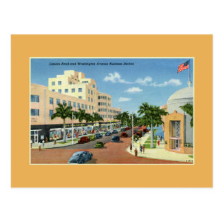 Vintage Lincoln Rd and Washington Ave Miami Beach Postcard