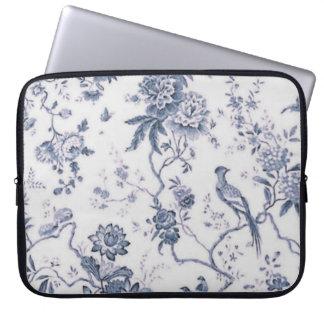 Vintage lindo azul y pájaro blanco floral funda computadora
