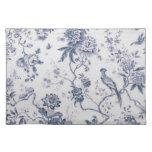 Vintage lindo azul y pájaro blanco floral manteles individuales