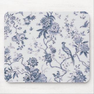 Vintage lindo azul y pájaro blanco floral alfombrillas de ratón