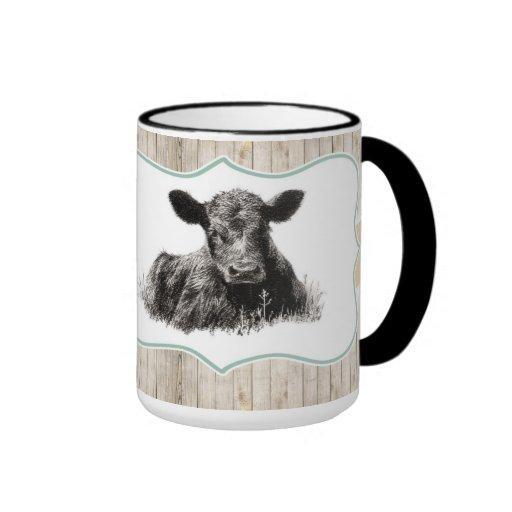 Vintage lindo de la taza de la vaca del becerro