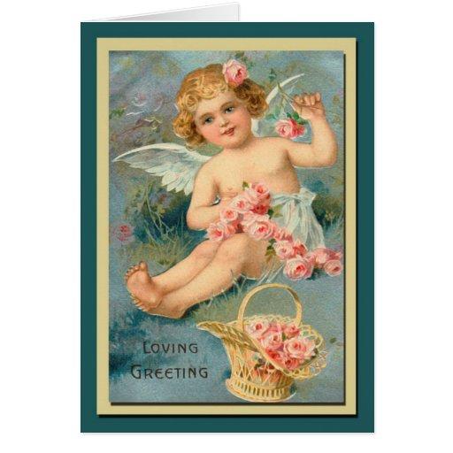 Vintage lindo de los saludos del ángel floral tarjeta pequeña