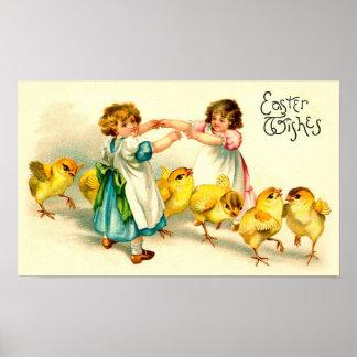 Vintage lindo feliz de Pascua del puente de Londre Posters