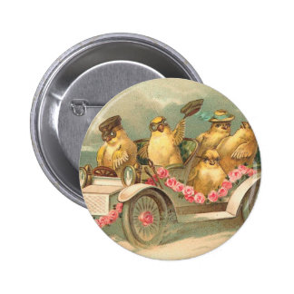 Vintage lindo Pascua de Joyeuses Pâques Pin Redondo 5 Cm