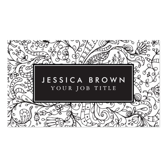 Line Card Examples: Vintage Line Art Business Card Template